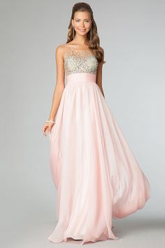 2014 Sexy Prom Dresses Scoop Neckline Princess Floor Length Chiffon Beaded Bodice