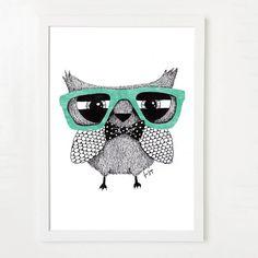 Hipster owl - Art print