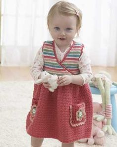 Frilly toddler cardigan pattern pale rose crochet crochet and jumper dress with a striped wrap top and sweet pleated skirt with flower detail crocheted fandeluxe Gallery