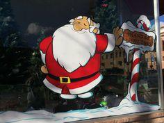 Christmas window painting. Santa Claus
