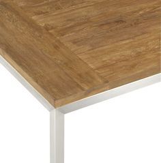Teak Top/ Stainless Steel Base Parsons Dining Tables | Crate and Barrel