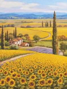 Science Discover 46 Super Ideas For Painting Sunflower Field Tuscany Italy Beautiful Paintings Beautiful Landscapes Landscape Art Landscape Paintings Tuscany Landscape Under The Tuscan Sun Sunflower Fields Field Of Sunflowers Sunflower Garden Watercolor Landscape, Landscape Art, Landscape Paintings, Tuscany Landscape, Watercolor Artists, Nature Paintings, Watercolor Painting, Beautiful Paintings, Beautiful Landscapes