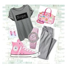 """Grey & pink"" by marsia-fashion on Polyvore featuring Lands' End, Converse, Dooney & Bourke and bürgi"