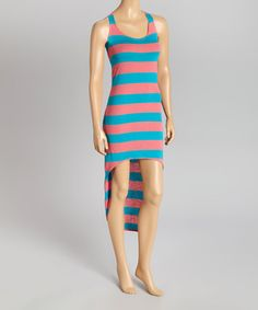 Look what I found on #zulily! Teal & Light Pink Stripe Hi-Low Dress #zulilyfinds