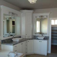 White bathroom  double sinks  double vanity  corner vanity  white cabinets   grayCorner Bathroom Vanity Bathroom Mediterranean with Bathroom  . Double Sink Corner Vanity. Home Design Ideas