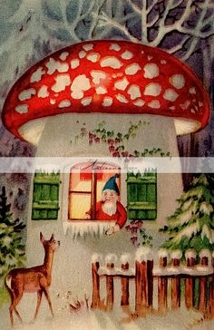 Friendly Gnome's Christmas holiday home in the woods! Noel Christmas, Retro Christmas, Christmas Greetings, Christmas Crafts, Christmas Ornaments, Holiday Cards, Woodland Christmas, Vintage Christmas Images, Vintage Holiday