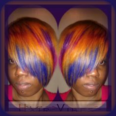 FOLLOW FOLLOW FOLLOW @HAIRVIBES_BYCRYSTALMARIE #WEAVE #COLORFUL #SHORTCUT #PRIDE #EDGY