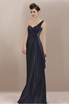 black couture bridesmaid gowns | Beautiful Couture Black One Shoulder Bridesmaid Dress - 6300208