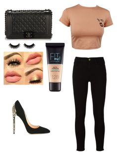 """""""Untitled #127"""" by sarrabaccouch on Polyvore featuring Frame, Cerasella Milano, Chanel and Maybelline"""