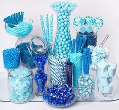 Ideas Baby Shower Food Blue Candy Table For 2019 Blue Candy Table, Blue Candy Bars, Mint Candy, Yellow Candy, Purple Candy, Bonbons Baby Shower, Schneemann Party, Bar A Bonbon, Dessert Buffet