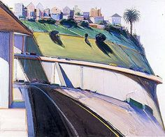San Antonio Museum of Art Wayne Thiebaud Potrero Hill, 1976 Bay Area Figurative Movement, Pop Art Movement, Wayne Thiebaud Paintings, Traditional Paintings, Paintings I Love, Urban Landscape, Figure Painting, American Artists, Les Oeuvres