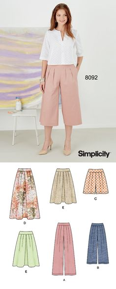 So on trend pastel pants! Sew a pair with Simplicity 8092! This pattern includes pleated skirt in two lengths, and pants, culottes or shorts, all with side zip.