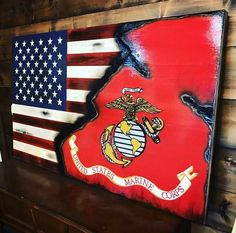 US/Marine Corps wooden flag