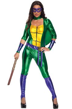 TMNT Donatello Ladies Jumpsuit Costume - Calgary, Alberta. This TMNT costume is lots of fun for a group costume, Halloween or themed party. Grab your bo staff and help kick some bad guy butt in this awesome TMNT Donatello costume. This TMNT Donatello costume is a foil fabric jumpsuit (the fabric does not have a lot of stretch). It has a keyhole neckline and the sleeves go about half way down. On the front is a yellow turtle chest.