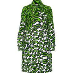 Miu Miu Printed wool and silk-blend coat ($1,263) ❤ liked on Polyvore featuring outerwear, coats, lime green, wool coat, double-breasted wool coat, woolen coat, miu miu and petite coats