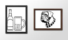 When I first started out as a Graphics Designer, one of the first lessons I learnt was how to use Adobe Illustrator. In order to practice my skills, I took images and recreated them, such as this Bull Mastiff and Beer Bottle and Glass.