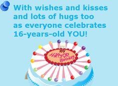 Verjaardagskaart met gedichtje: With wishes and kisses