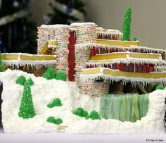 Frank Lloyd Wright's Falling Water Reproduced In Gingerbread. Incredible Edible Architecture