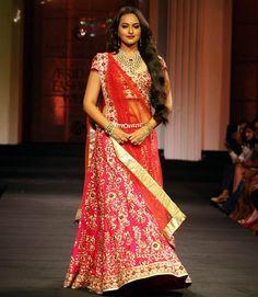 Sonakshi Sinha in bridal saree designed by Jyotsna Tiwari.
