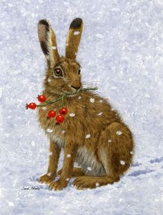 Rabbit Hare and Rosehips 2-Sided Garden Flag