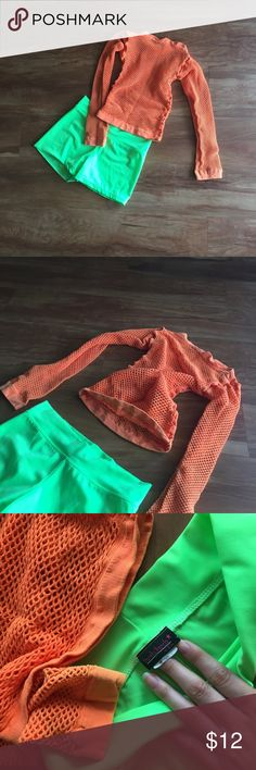 Rave Stuff Neon Net Top and neon booty shorts. Used once no flaws. xxs American Apparel Accessories