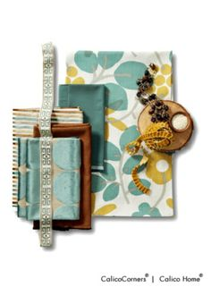 Teal and Gold Fabric Collection