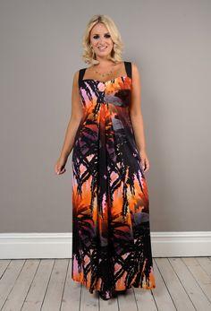 Double Silk Corset Strap Maxi Dress - Plus Size