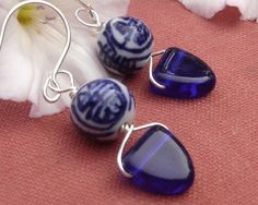 Chinese Porcelain Cobalt Blue Earrings Glass by nicholasandfelice, $ 14.50