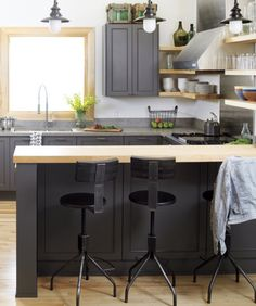 gray cabinets/bar stools
