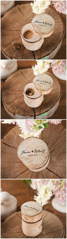 Wooden Wedding Ring Bearer Box #wood #rustic #weddingring #ringbox #ringholder #weddingideas #wedding #eco #birchbark #engraved #custom
