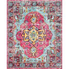 The Luella Boho Pink Pattern Area Rug