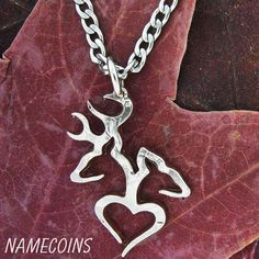 Country Necklace Buck Doe Love Heart in 1/2 dollar by NameCoins, $44.99