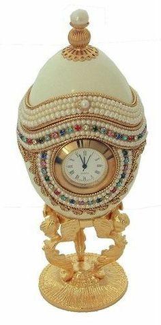 Jeweled Decorated Genuine Goose Egg Clock Jewelry Box #1587