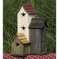 Amish #Primitive #Trio #Birdhouse