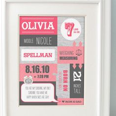 Cute baby birth announcement framed. pink and grey nursery