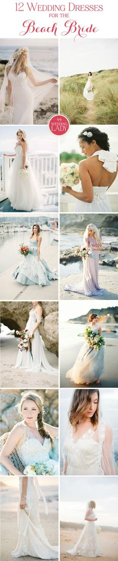 12 Gorgeous Wedding Dresses for the Beach Bride! Ethereal, romantic, bohemian, or glam – whatever your style, the sea is calling and the perfect gown awaits!