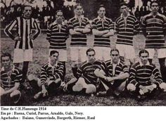 Time do Clube de Regatas Flamengo 1914 Em pé: Baena, Curiol, Parras, Arnaldo, Galo, Nery. Agachados: Baiano, Gumercindo, Borgerth, Riemer, Raul.