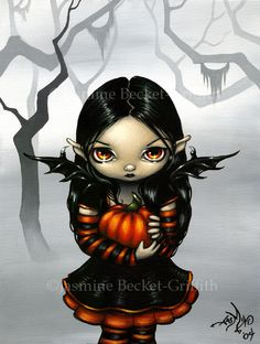 A cute little goth fairy holding a pumpkin! Perfect for Halloween (or if you're…