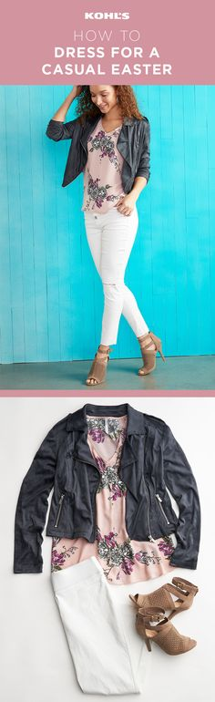 The perfect Easter outfit doesn't have to be your Sunday best these days. Go casual in an LC Lauren Conrad faux suede moto jacket, a pink floral top, white jeans and high-heel ankle boots. Refresh your spring style at Kohl's. #easter #springishere