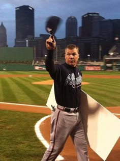 Chipper Jones tipping his cap to the crowd at PNC Park in Pittsburgh.