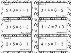 48 Free True or False Equation Cards ~ Addition within 10. Includes everything you need for 2 different Scoot games, partner work and/or sorting activities. Designed to help kids become fluent with math facts while also developing problem solving skills. (Also includes a link to an iPad app my son just created based on this activity.)