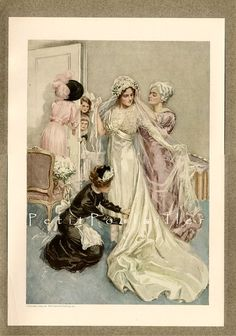 1912 Harrison Fisher's 'Grooming the Bride' Edwardian Fashion Lithograph ... off to a new home!