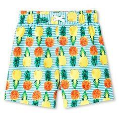 Toddler Boys' Pineapple Swim Trunks - Aqua Blue  8