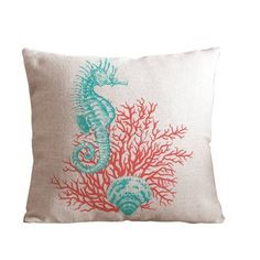 Custom red-sea horse Background Squre Pillow Case 18 x 18 Inch Cotton linen material Zippered Throw Pillow Cover - Lljpcovers Two Side Print, http://www.amazon.ca/dp/B011QGRCKC/ref=cm_sw_r_pi_awdl_Lm67vb1995990