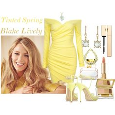 Celebrity-Blake Lively-Tinted Spring by prettyyourworld on Polyvore featuring Sophia Webster, STELLA McCARTNEY, Lestie Lee, Ice, Estée Lauder and Clarins