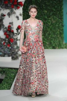 Varun bahl floral embroidered gown