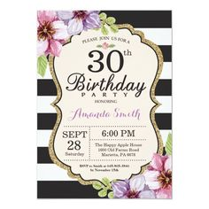 Surprise Birthday Invitation Floral Teen - black and white gifts unique special b&w style Surprise 30th Birthday, Gold Birthday Party, Adult Birthday Party, 80th Birthday, Birthday Gifts, Birthday Cards, Flower Birthday, 60th Birthday Ideas For Mom Party, Happy Birthday