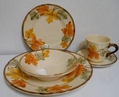 Franciscan Dinnerware October Place Setting 8 by cyndalees on Etsy, $39.00 - Mom would love these beautiful yellow and golden orange fall flowers