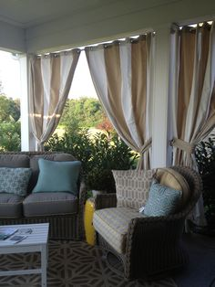 Curtains with grommets and angled seating