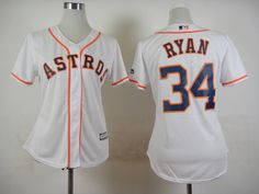 womens astros 34 nolan ryan white cool base stitched baseball jersey